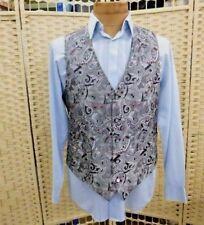 "brocade waistcoat silver black vintage 80s dandy regency victorian chest 42"""