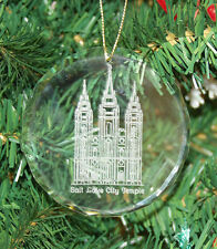 Personalized Crystal Round LDS Temple Christmas Ornament Custom Gift