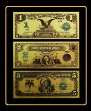 Billet USA Série 1,2 et 5 $ dollars 1899 or fin .999 Polymère doré 24k GOLD