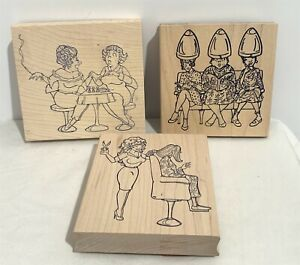 Rubber Works Old Ladies Hair Salon Nails Manicure Wood Rubber Stamps Lot of 3
