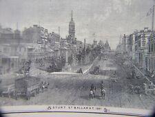 RARE  STURT ST BALLARAT C.1887  ENGRAVING  AUSTRALIAN  ART PRINT VINTAGE