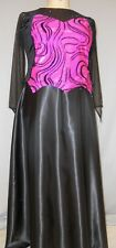 BLACK VELVET-FLOCKED SWIRL DESIGN ON HOT PINK STAGE COSTUME--#6 SIZE 3X