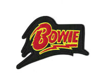 BOWIE BLACK Iron on / Sew on Patch Embroidered Badge Music Band PT573