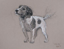 """Terrier Jack Russell dog Le mounted art print 'Waggy Tail' by H Irvine 16""""x12"""""""