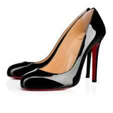 Christian Louboutin Fifille 100 Black Patent Leather Classic Round Heel Pump 36