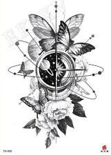 Fiore Farfalla BUSSOLA impermeabile tatuaggio temporaneo adesivo * UK Venditore */- m51 -/