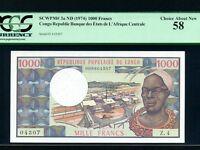 Congo:P-3c,1000 Francs,1978 * Sign 8 * Man * PCGS Ch. AU 58 *