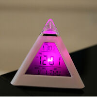 Fashion Pyramid Alarm Snooze Clock 7 Color Backlight 12/24H Display Temperature
