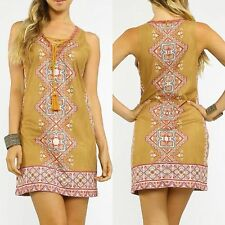 NEW CAMEL Aztec FAUX SUEDE Tassel BOHO Lace Up HIPPIE Gypsy FESTIVAL DRESS Small