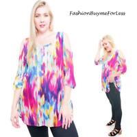 PLUS Size BOHO Hippie Tie Dye Gypsy Cold Shoulder Swing Tunic Shirt Top 1X 2X 3X