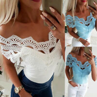 Fashion Women's Off Shoulder Casual Lace Tops Summer Short Sleeve Fitted Blouse