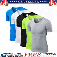 Men's Compression V-Neck Sports T-shirt Short Sleeve Workout Fitness Skin Shirt