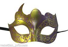 Purple Gold Venetian Mask Masquerade Laser Cut Mardi Gras Unisex PM002PUGD NEW