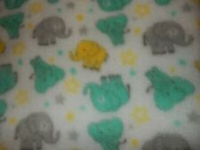 Ln 30x30 Cutie Pie Minky Plush Elephant Yellow Green Gray Baby Crib Blanket