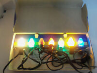 Vintage Christmas Paramount Indoor GE Lights w Kliptons in Original Box WORKS