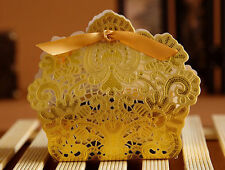 10/50/100 Wedding Party Favor Boxes Lace Laser Cut Sweet Candy Gift With Ribbon