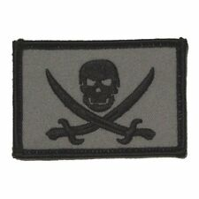 Grey Pirate Jolly Roger Calico Jack Self Adhesive Tactical Flag Patch 2x3in