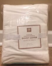 NEW Pottery Barn Teen Parker Embroidered FULL QUEEN Duvet POOL