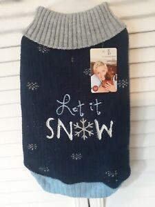 Ellen Degeneres Blue & Gray Dog Sweater/Coat, Winter Holiday Let It Snow, Sz Med
