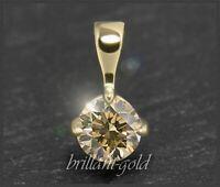 Solitär Diamant Anhänger mit Brillant 0,51 ct; zart champagner; VS2; für Damen