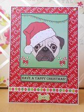 Handmade Pug Dog Christmas Card Large Yappy Red Green Santa Hat OOAK