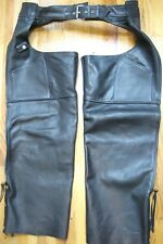 Pegasus Leather Biker Chaps Size 2XL Black Waist 40 Inches Inseam 29 Inches