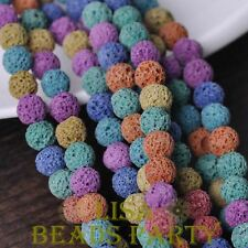 100pcs 8mm Round Lava Stone Natural GEMSTONE Loose Spacer Beads Colorful