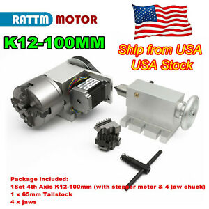 〖US〗Rotation A Axis 100mm 4 Jaw Chuck CNC Router Rotary Table 4th Axis+Tailstock