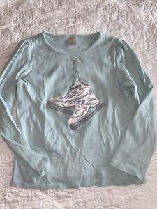 Gymboree Ice Skating shirt mint green size 12 long sleeve VGUC
