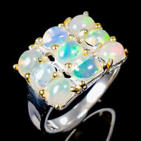 Handmade5x4mm Natural Opal 925 Sterling Silver Ring Size 8.5/R123372