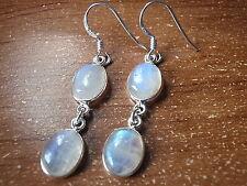 Blue Moonstone Double-Gem 925 Sterling Silver Dangle Earrings