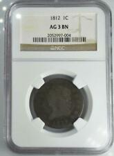 1812 Classic Head Large Cent NGC AG 3 Problem Free No Reserve Auction 99C Start