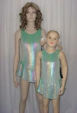 Glitter Velvet Rainbow Ice Figure Skating Tap Dress Dance Costume CS,6X7,AM