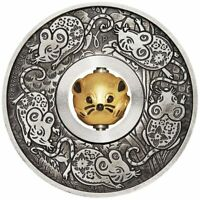 2020 Year of the Mouse Rotating Charm 1oz .9999 Silver Proof Antiqued Coin - PM