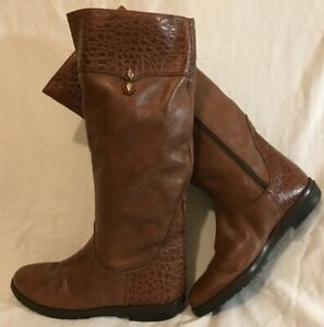 F.ZAMBONI Brown Knee High Leather Lovely Boots Size 38 (808v)