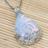 Opal Opalite Gemstone Teardrop Flower Pattern Pendant Bead For Necklace