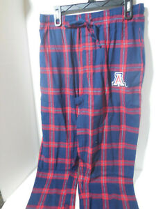 New Mens Arizona Wildcats Flannel Plaid Printed Pants Blue Red Size Large NCAA