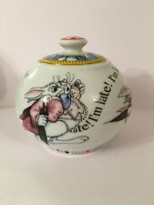 Alice In Wonderland's Cafe Cardew Pottery White Rabbit 12oz Sugar Bowl Rare