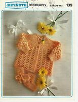 """2027 BABY DK/QK/4PLY YOKED MATINEE COAT BOOTEES 16-18"""" VINTAGE KNITTING PATTERN"""