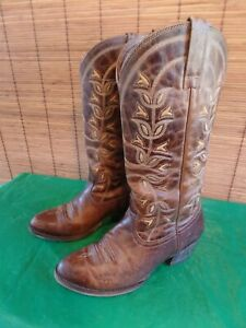 Ariat Desert Holly Brown Crackle Leather Embroidered Boots Size 7 med.