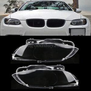 Right + Left Headlight Headlamp Lens Cover For BMW E92 E93 Coupe M3 2006-2010