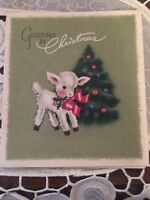 VINTAGE 1940s Christmas Card Baby Lamb With Red Ribbon Tree