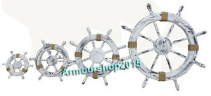 Nautical Wooden Rustic White Decorative Ship Wheel With Natural Rope Set Of 4