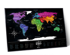 BLACK SCRATCH OFF TRAVEL MAP DETAILED WORLD MAP PUSH PIN POSTER SCRATCH CARD
