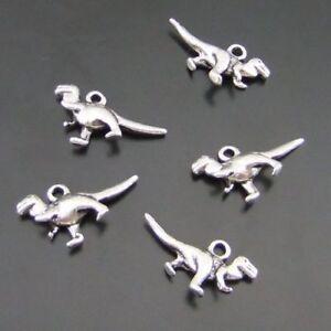 20pcs Vintage Silver 23x9mm Dinosaur Shaped Alloy Pendants Charms Crafts 01544
