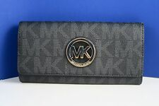 d4f56f255fab NWT Michael Kors Fulton Flap PVC Black Signature Flap Continental Wallet  Purse