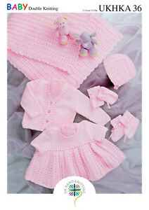 UKHKA 36 Shawl, Dress, Cardigan, Hat, Mittens & Bootees Knitting Pattern In DK