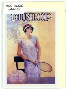 Nostalgic  Dunlop Tennis c.1935 poster. Hand made greeting card.Blank inside