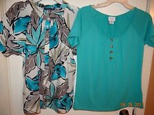 LOT of 2! Blouses Tops Size S Solid Turquoise, Floral Print FREE SHIPPING