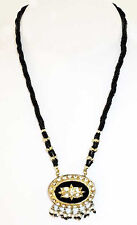 Handcrafted, Black & Gold Lakh, Pendant Necklace & Earrings. An India Tradition